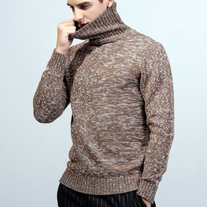 Autumn Winter Warm Turtleneck Sweater Men Solid Color Knitted Men Jumper Pullovers 2020 Double Collar Slim Fit Pull Knitwear New