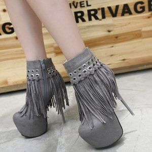 New Arrival 2020 Autumn Winter Boots Womens Tassel Boots Ankle Winter Shoes 16 cm Stiletto T-Catwalk Footwear Nightclub Shoes
