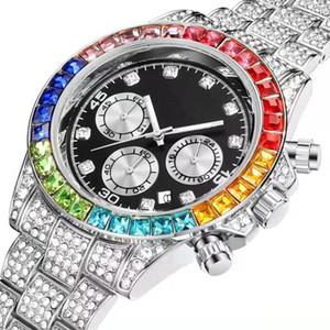 기능 멀티 남성 여성을위한 다채로운 전체 모조 다이아몬드 다이아몬드 달력 날짜 석영 배터리 시계 기절 패션 명품 디자이너