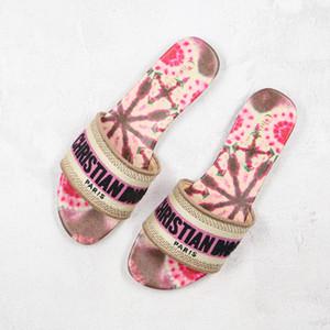 20ss DWAY MULE tela di Jouy ricamo dei sandali Stripes fioriture scorrere Pool infradito mocassini Womens pantofole per le donne Scuffs Slides 2020