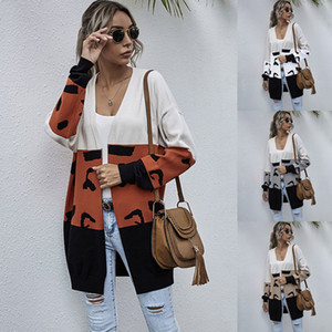 European and American Foreign Trade Contrasting Color Knitted Cardigan Autumn and Winter New Sweater Womens Casual Mid-Length Leopard Splici