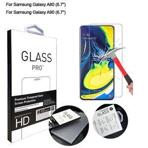 حامي الشاشة لسامسونج غالاكسي A80 الزجاج المقسى HD واضح مضاد للخدش الزجاج المقسى لسامسونج غالاكسي A90 الحالة، غالاكسي A90 5G