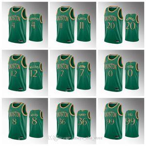 BostonCelticsHommes Basketball Vert Jersey Tacko Fall Marcus Smart Gordon Hayward Enes Kanter Kemba Walker Jaylen Brown Tatum