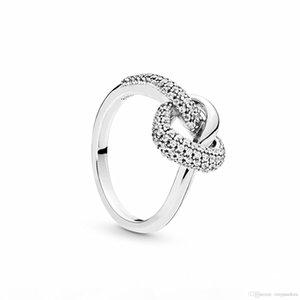925 Sterling Silver atado Anel Coração com Limpar Cz Fit Designer de jóias amantes casamento do acoplamento anel de moda para as mulheres