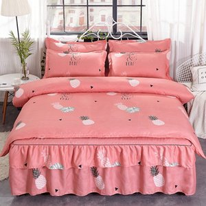 Pineapple Printing Pink Bedding Sets Simple Girl And Boy Room Colorful Bed Sheet Suit Simple Cartoon Bedding Bag