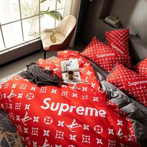 Chic Red cama conjuntos completos Carta cama king size sets cobrir venda quente fronhas queen size de cama conjunto de folhas capa de edredão