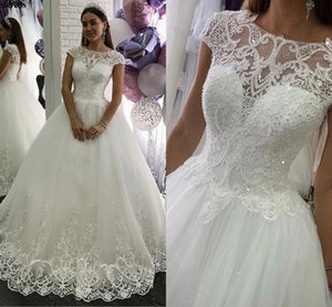 Vestido de Noiva 2021 Wedding Dresses A Line Cap Sleeves Appliques Beaded Sequins Lace Up Boho Garden Bridal Gowns Robe De Mariee AL7138