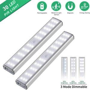 USB Şarj edilebilir LED Kabine Işık Hareket Sensörü 30 LED Dolap Lambası 3 Aydınlatma Modları İçin Mutfak Dolap Dolap Yatak Ev