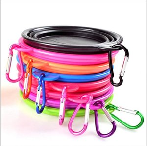 Foldable Dog Bowl Animal Silicone Circle Bowls Colorful Pets Tableware Retractable Pet Supplies With Ring 5 5sla F2