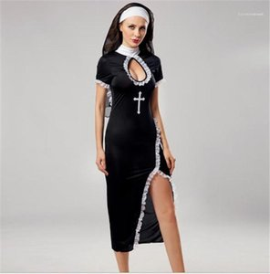Sleeve Party Stagewear Nun Cosplay Womens Costumes Halloween Cross Printed Sexy Split Dresses Props Short