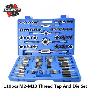 Hampton 110pcs Metric Tap Filetto E Die Set M2-M18 Screw Tap Drill Bit da lavorazione dei metalli Die filettatura Tool Set