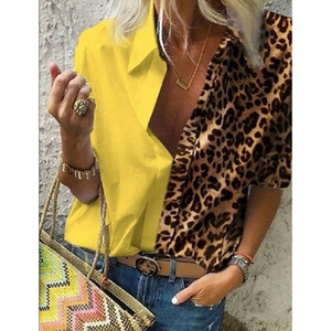 Donna Leopard pulsante di stampa a maniche lunghe camicette autunno casuale allentato Ufficio shirt Femme Plus Size 5XL stampa floreale Camicia