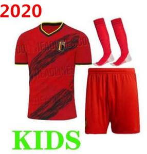 2020 Coupe d'Europe Belgique équipe nationale de football maillot maison loin enfants E.HAZARD maillot de pied Lukaku DE BRUYNE 2020 2021 football kit pour enfants