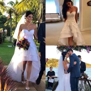 Partido novia apliques de la cremallera de novia vestidos de boda del país espalda de encaje Vestidos de novia Alto Bajo una línea Vestidos