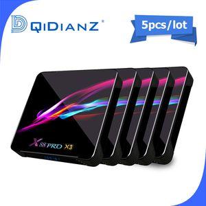 5pcs Smart TV BOX x88pro x3 Android 9.0 8K doppio Wifi Lettore BT Netflix multimediale Play Store App gratuita veloce Set top PK HK1MAX H96