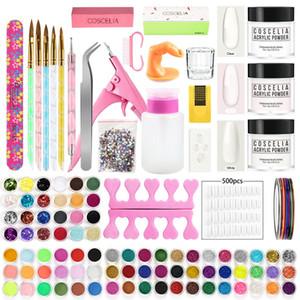 Glitter Pro acrylique Set ongles en acrylique pcs poudre manucure Nail Art Tremper poudre ongles Conseils outil Pinceau Kit Manucure