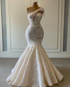2020 Plus Size Arabic Aso Ebi Luxurious Lace Beaded Wedding Dresses One Shoulder Mermaid Bridal Dresses Vintage Wedding Gowns ZJ0553