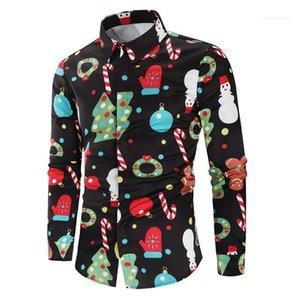 Mens di stile Autunno Desinger Camicie risvolto maniche lunghe stampa floreale Festival Stile Homme Abbigliamento di Natale