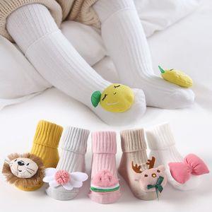 New baby socks autumn winter two-needle cartoon baby socks non-slip point glue floor socks INS newborn sock cotton