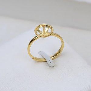 accesorios de oro de bricolaje bricolaje S925 plata grande del oro perla platino chapado en anillo abierto sencillo anillo de perlas huecas de gran placa 53