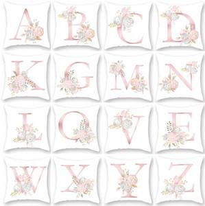 45x45cm Rose-rose Fleurs en peluche Boster Case 26 Anglais Lettres chiffres arabes Coussin Sofa oreiller Fournitures Literie Case HA1159