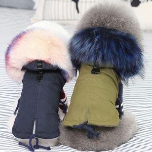Kış Giysileri Lüks Kürk Yaka Ceket Küçük Sıcak Polar Köpek Pet Chihuahua Giyim için Çizgili Ceket 30s1 T200902