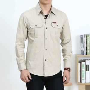 Мужские рубашки платья Тактическая Твердая с длинным рукавом Военный стиль для взрослых Блуза Социальных двойного карман Повседневного Slim Fit 200925
