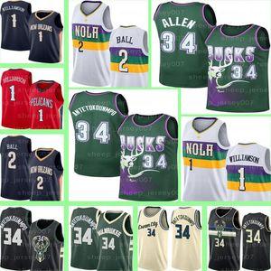 Retro Giannis 34 Antetokounmpo Maillots MilwaukeeBuck Zion 1 Williamson Ray Allen 34 Lonzo 2 Ball Basket-ball Maillots