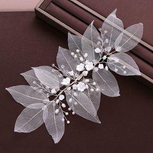 FORSEVEN Weiß Blume Blatt handgemachte Stirnband Brauthaarschmuck-Perlen-Kristall Tiaras Kopfschmuck Frauen Mädchen Haarschmuck JL