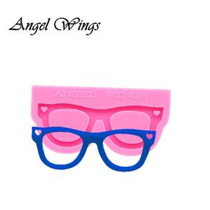 Parlak anahtarlık Gözlük şekil Silikon Kalıplar DIY Takı anahtarlık kalıp Epoksi Reçine Kalıp Custom 0157