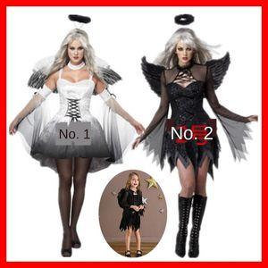 Halloween del traje de ángel demonio traje negro blanco gris hijos adultos entre padres e hijos con ropa, gorros alas ángel de la ropa tocado DAV