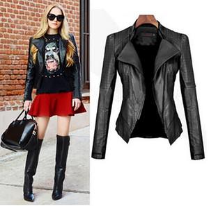 Nueva Mujer Chaqueta Negro gótico de imitación de cuero de la PU de la chaqueta de las mujeres del resorte del invierno de la motocicleta Negro gótico de imitación de piel abrigos # G30