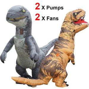 تأثيري الديناصور T ريكس نفخ فيلوسيرابتور هالوين نسف الديناصور زي الاطفال الكبار رابتور البدلة رايدر الديناصور CX200817