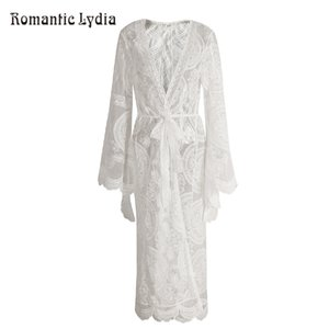 Women Vintage Long Lace Kimono Cardigan Causal Elegant Sexy Luxurious Beach Cover Up Sexy Perspective Outwear