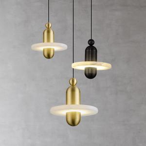 Marmo Hanglamp Oro / pendente del metallo nero Light Restaurant Arte Moderna lampade Bar Camera luci lusso Decoration Salon Iluminaria