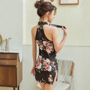 Creux de Split Party Nightclub Party Dress Sexy Woman Halter cheongsam style chinois Lingerie érotique Mini qipao Babydoll Sous-vêtements