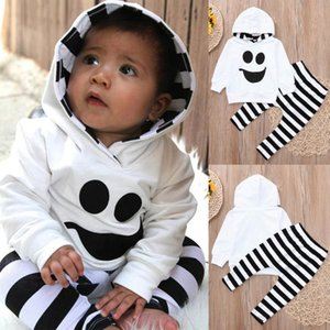 Toddler Baby Boys Girls Hooded Tops Pullover Striped Pants Halloween Outfits drop shipping interesting Set August 8