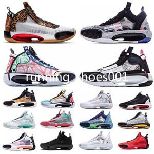 Nike air jordan retro 34 AJ34 Jumpman 34 Erkekler Basketbol Ayakkabı XXXIV Rui Hachimura X Miras 34s Kızılötesi 23 Zoo Nuh Snow Leopard Kara Kedi Çıtır Erkek spor ayakkabı