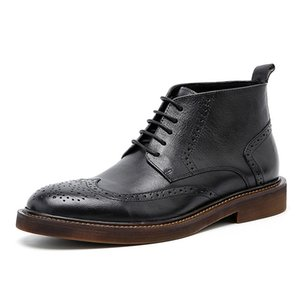 Men Winter Boots Genuine leather Mens Platform Brogue Casual Ankle Flat Shoes Lace Up dress boots