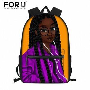 FORUDESIGNS Студенты Опрятный ранцы для детей Black Art Afro Lady Girls School Bag тинейджеров Юниор Schoolbag Дети Сумка rN1s #