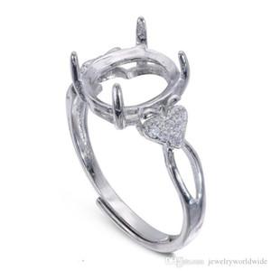 cgjxs semi anello di supporto Impostazioni Per pietra ovale con Apple laterale Cz Base pieno per 925 Sterling Silver Jewelry Donne Damigella d'onore di nozze