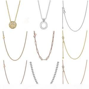 Fahmi 100% 925 d'argento 2019 autunno Anteprima lustro Chain del bordo della collana della catena del cavo della Rosa maglia lunga collana Oak Leaf Corona