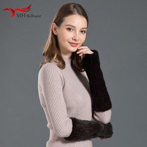 MH entrega en depósito tAutumn e invierno damas cálidos guantes de punto de la manga de la piel del dedo medio del brazo de la manga de Corea