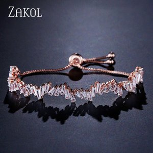 ZAKOL Moda Shinny Cubic Zircon Baguette ajustável Cadeia Bracelet Bangle Mulheres menina para jóia do casamento FSBP161 vSQx #