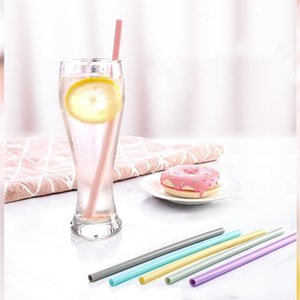 200PCS Silicone Straws Drinking Straight Curve Straw Water Cocktail Milk Coffee Straws Recyclable Food Grade Silicone Straw T500135