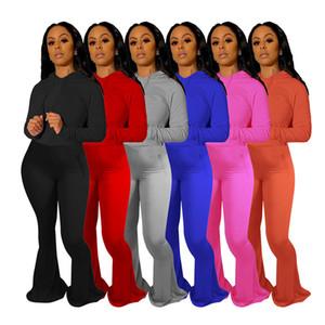 Kadınlar Eşofman İki adet Seti Katı Renk Yüksek Bel Uzun Kollu Büyük Flared Pantolon Kıyafetler Moda Bayanlar Gündelik Giyim Plus Size Yeni 806 Tops