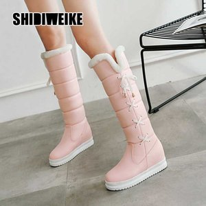 New Stylish Women Walking Shoes Thigh High Boots Female Big Size 34-43 pu leather Boots Knee-High snow V407