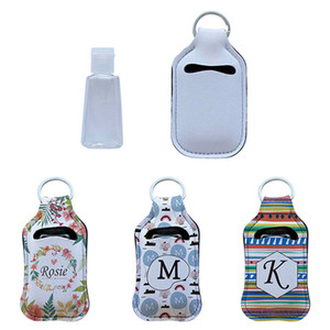 Neoprene Hand Sanitizer Bottle Titular batom Titular Keychain Bags 30ML Perfume lavagem da mão Bottle líquido branco por sublimação Impressão A02