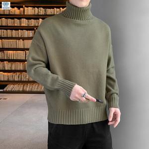 okkdey 2020 Solid Color Halb High Neck-Pullover Männer-Halb High Neck Sweater Pullover Herren Kleidung Paar Kleidung