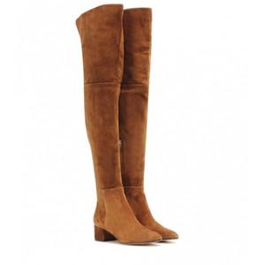 Fit Flock İnce Elastik Üzeri Diz Boots Kadınlar 2020 Kış bayanlar yüksek topuk Chunky Topuk Uzun Uyluk Yüksek botas kadar uyluk Dantel
